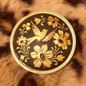 Vintage Damascene Brooch. Bird and Flowers.
